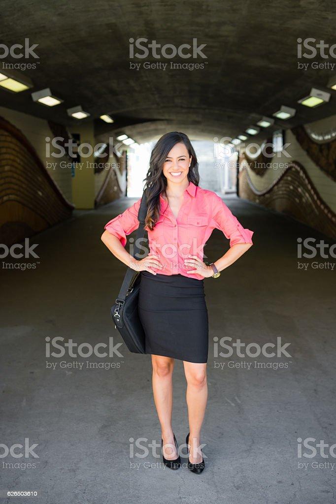 Women Commuter On Her Phone stock photo
