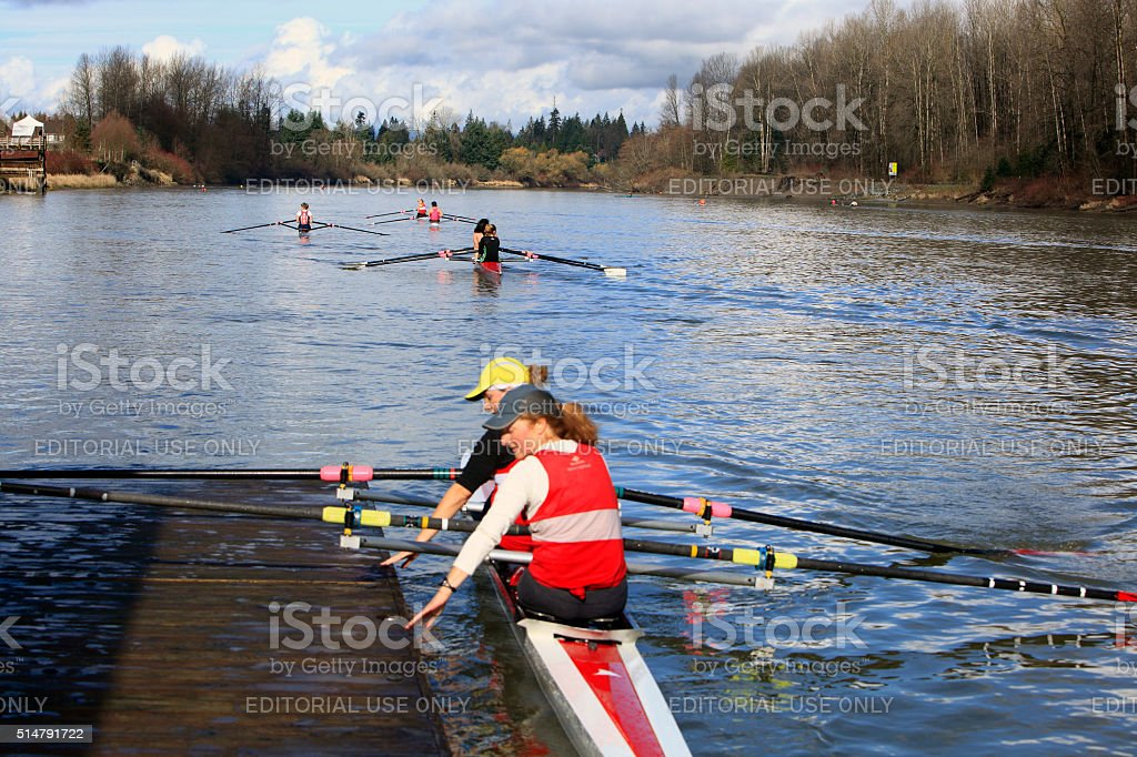 Women Competing In Fort Langley Rowing Regatta stock photo
