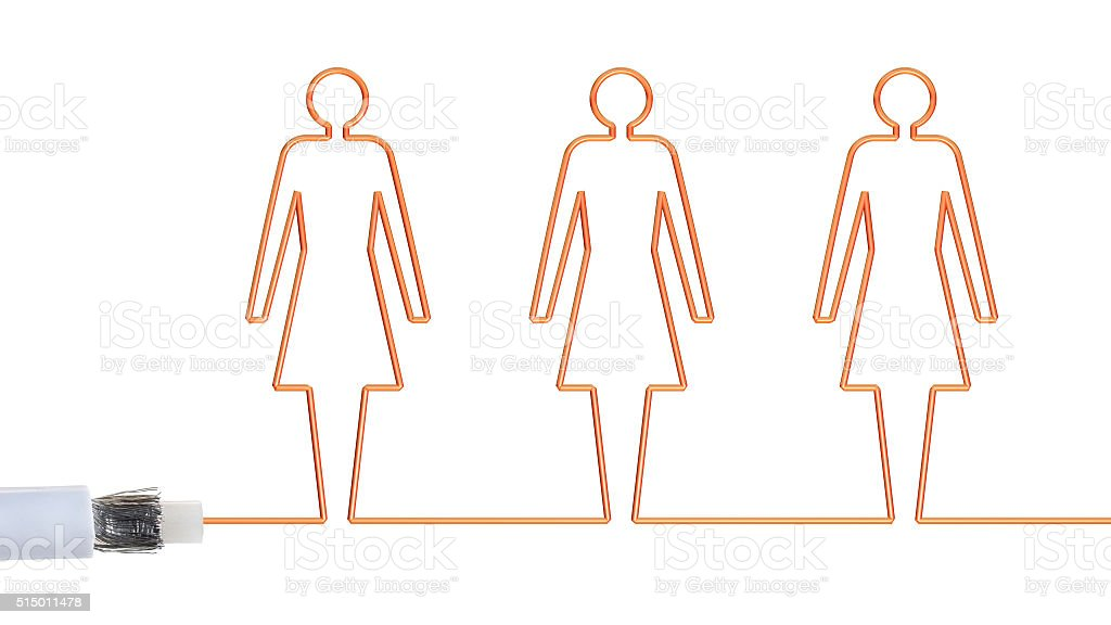 Women connected by a broadband cable. stock photo