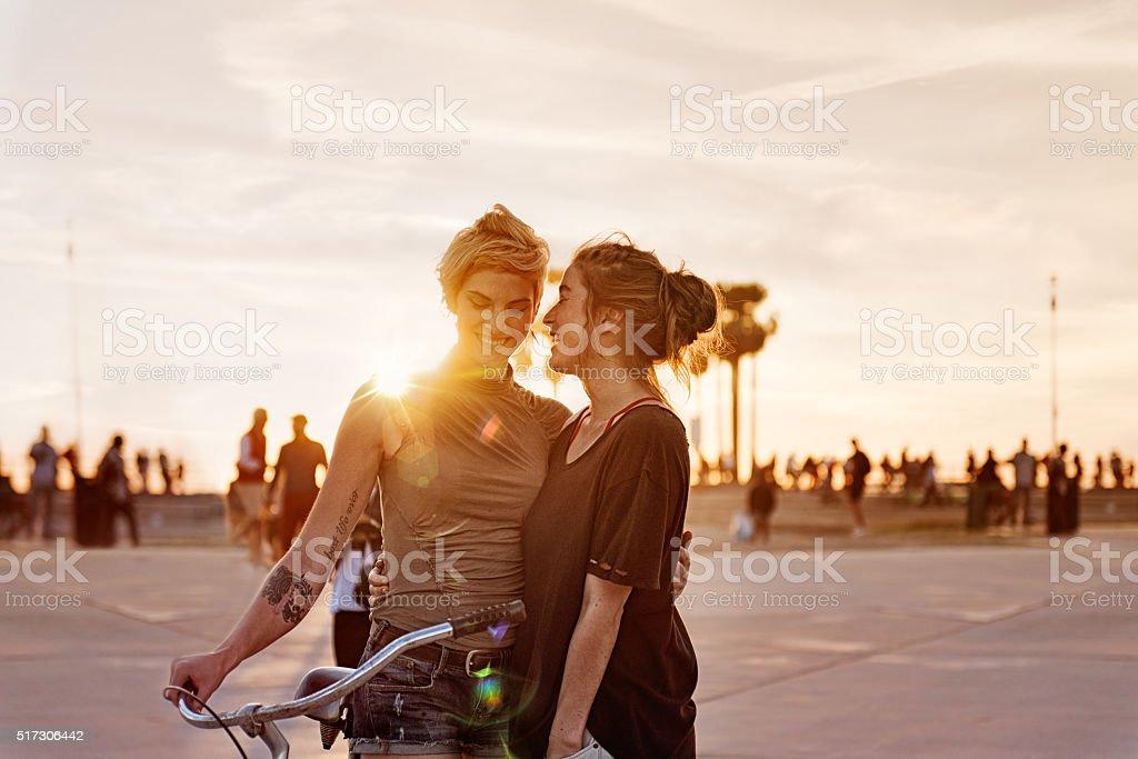 Women couple in LA stock photo