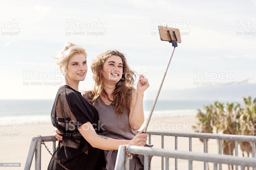 Women couple taking selfie stock photo