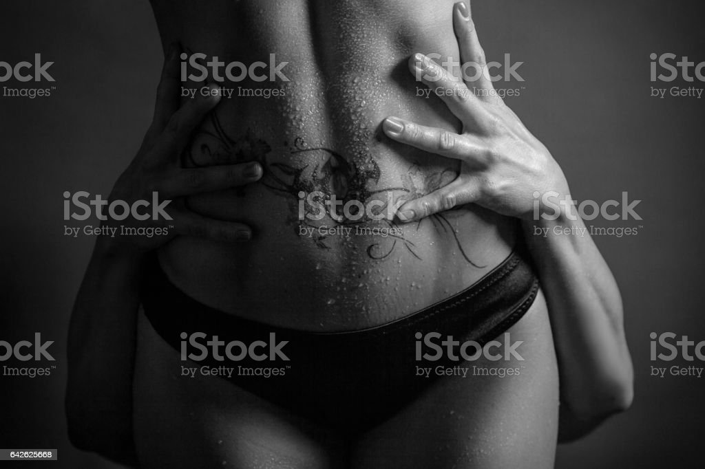 Women couple with hands on the hips stock photo