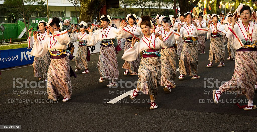 Women dance in Yosakoi festival stock photo