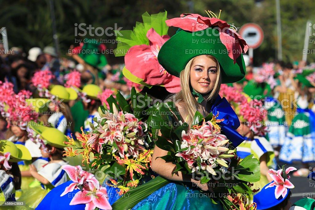 Women Dancers at Madeira Flower Festival Parade, Portugal stock photo