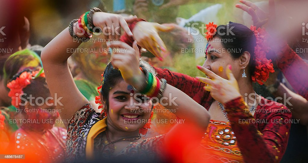 Women dancers performing in Holi celebration, India stock photo