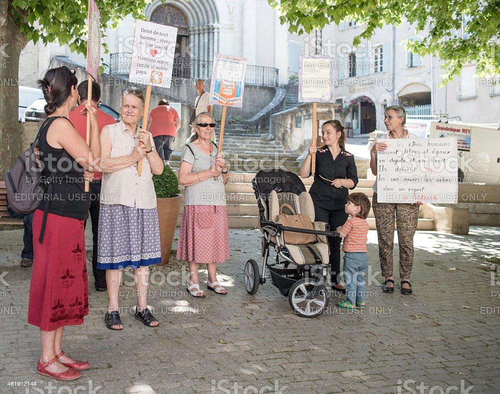 Women demonstrators in French village stock photo