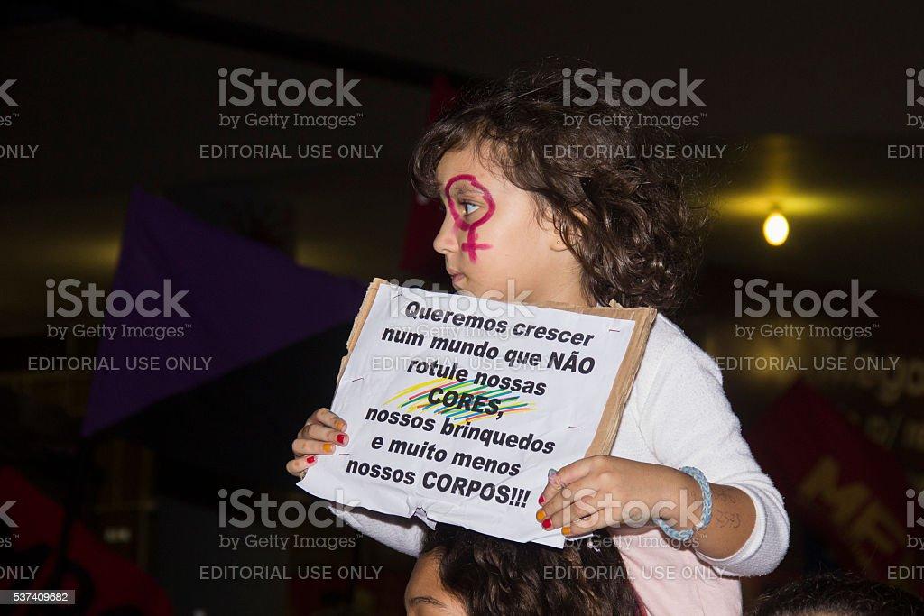 Women do act against gang rape in Rio stock photo