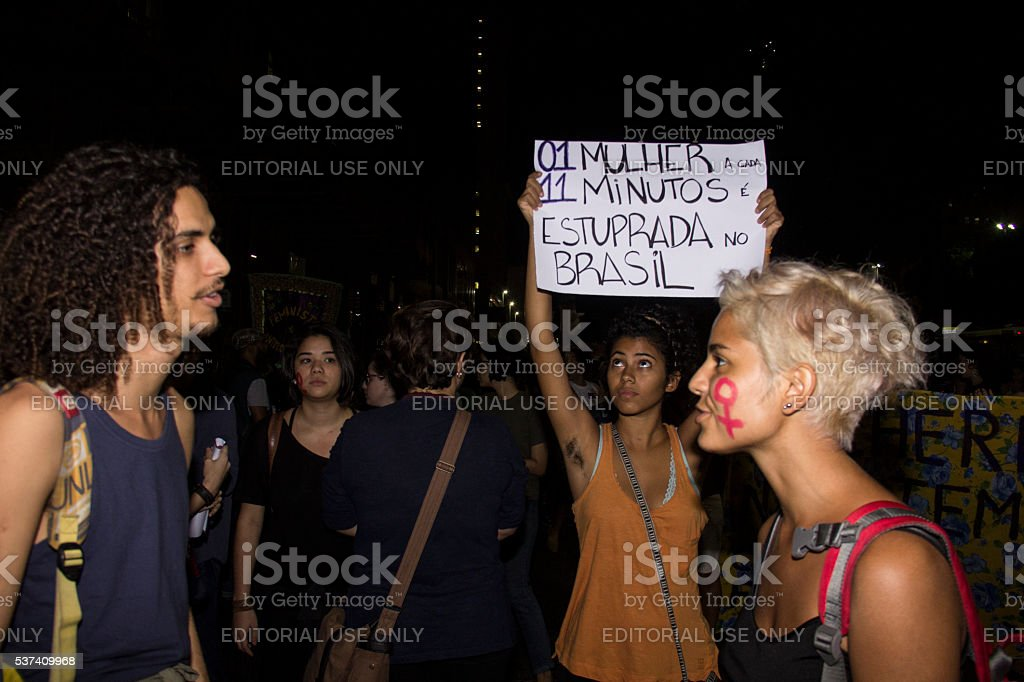 Women do act against gang rape in Rio stock photo