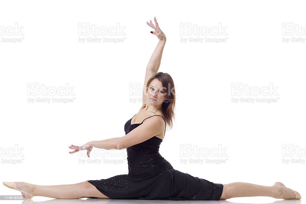 Women does a split on white background royalty-free stock photo