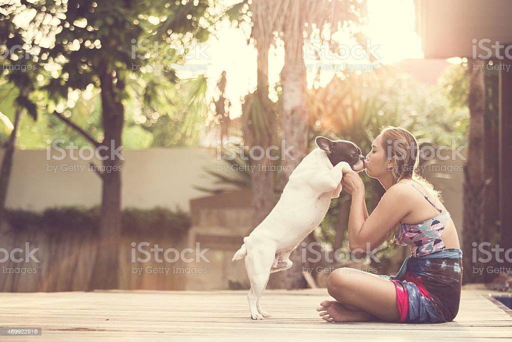 Women dog stock photo