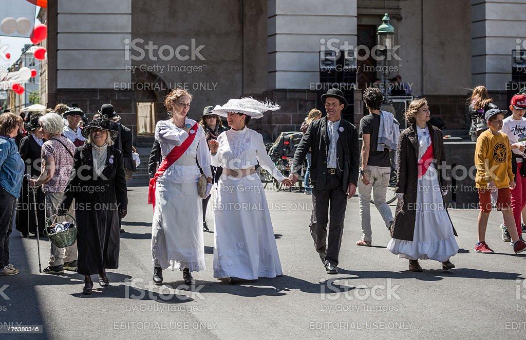 Women dressed as suffragettes, Copenhagen, Denmark stock photo