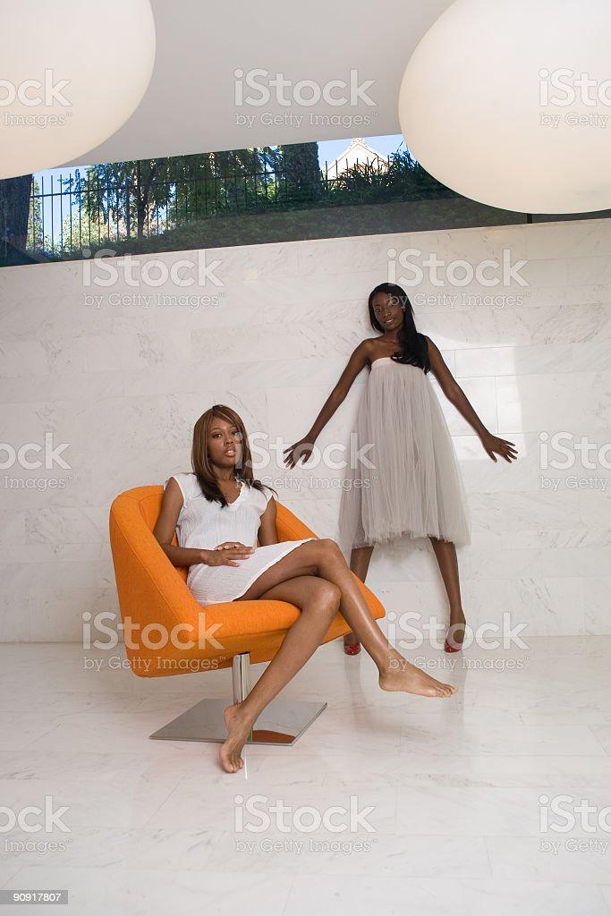 Women dressed in white stock photo