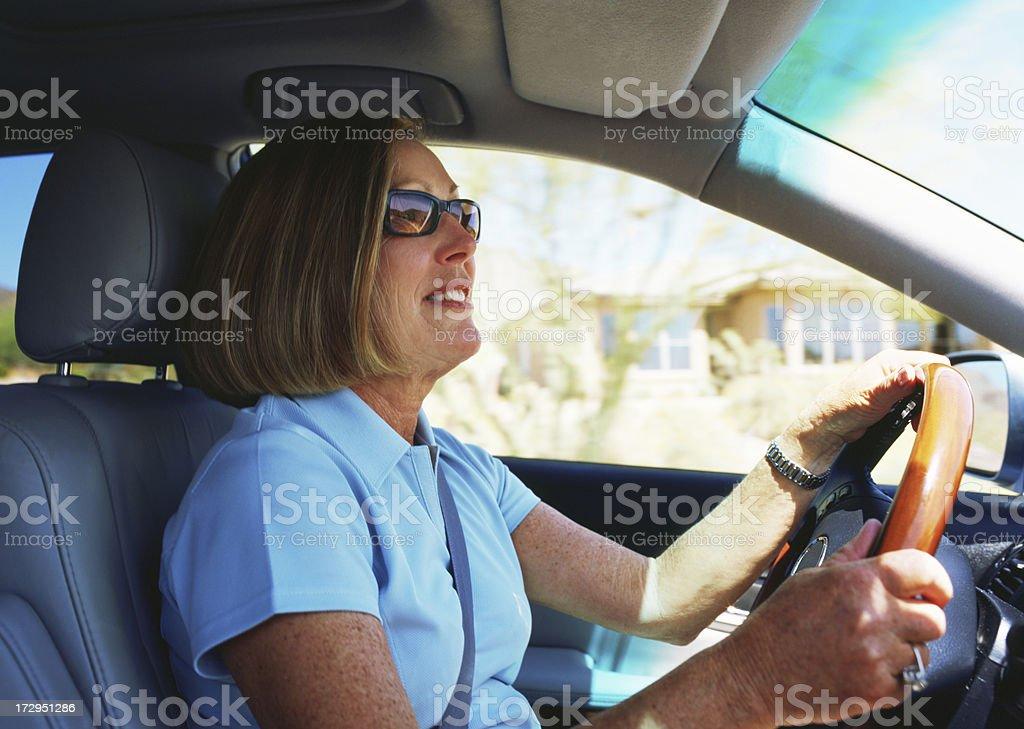 Women Driving Car Interior royalty-free stock photo