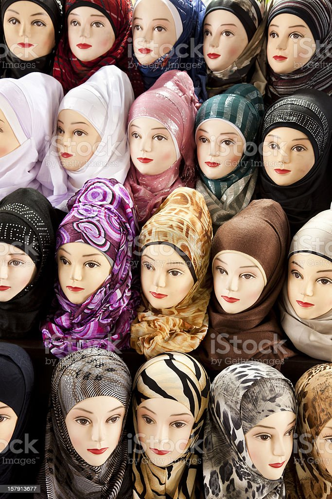 Women dummy heads at Damascus market. Syria. stock photo