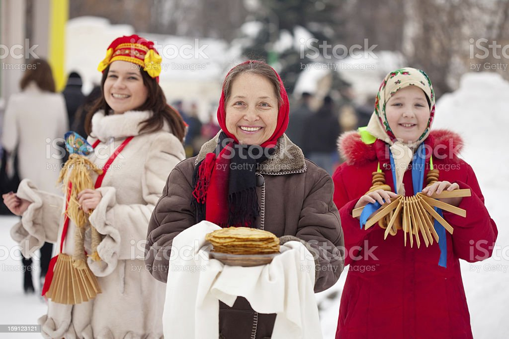 women during  Shrovetide  in Russia stock photo