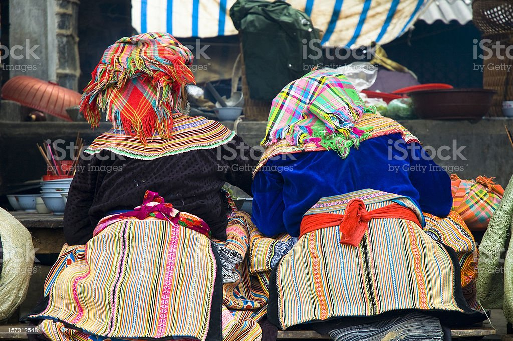 Women Eating Together In Bac Ha Market, Vietnam royalty-free stock photo