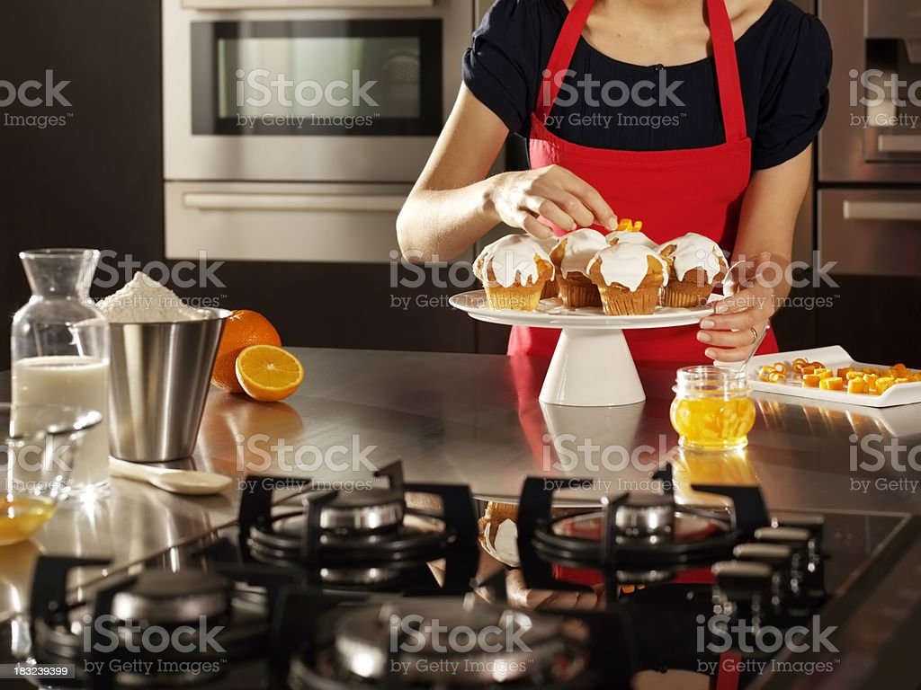Women engaged in a pie stock photo