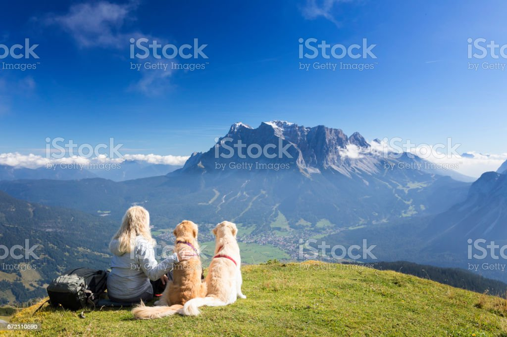 Women enjoy view with her dogs  -Zugspitze, Alps stock photo