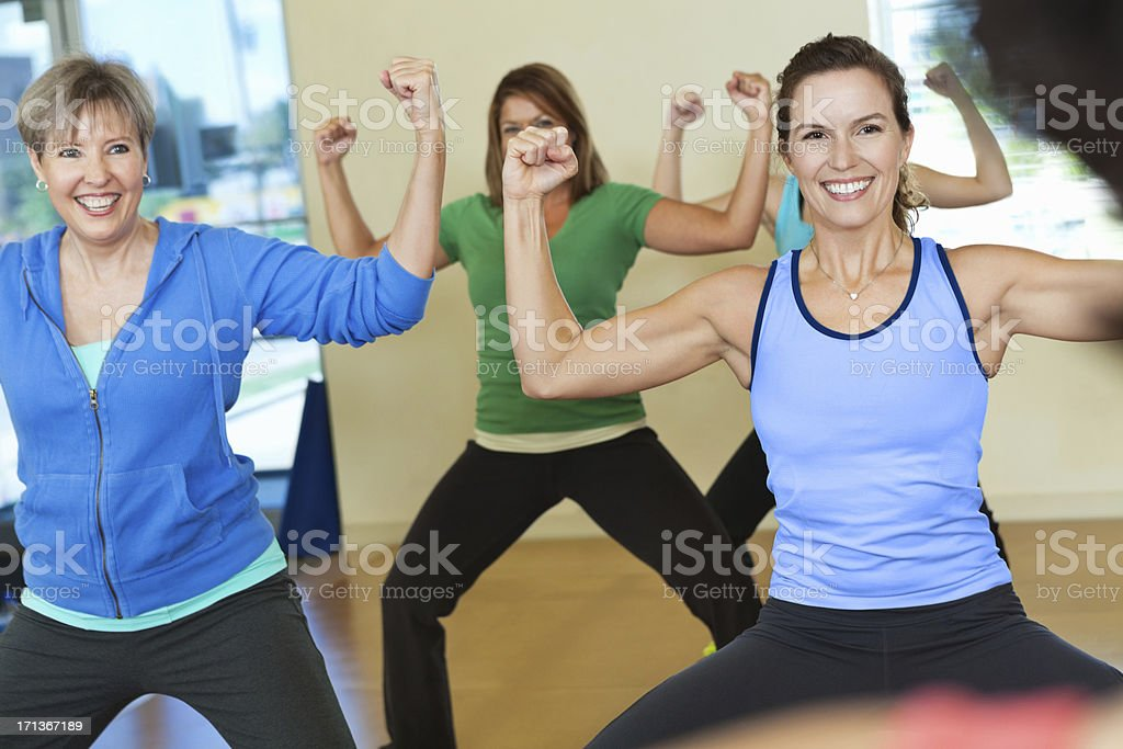 Women enjoying exercise class together royalty-free stock photo