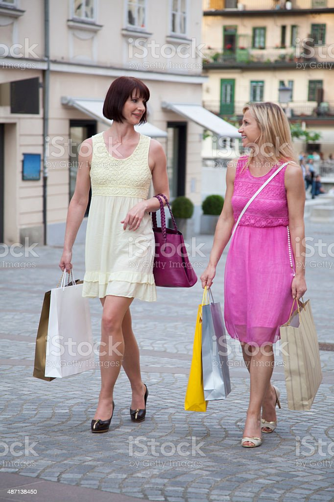 Women enjoying shopping day stock photo