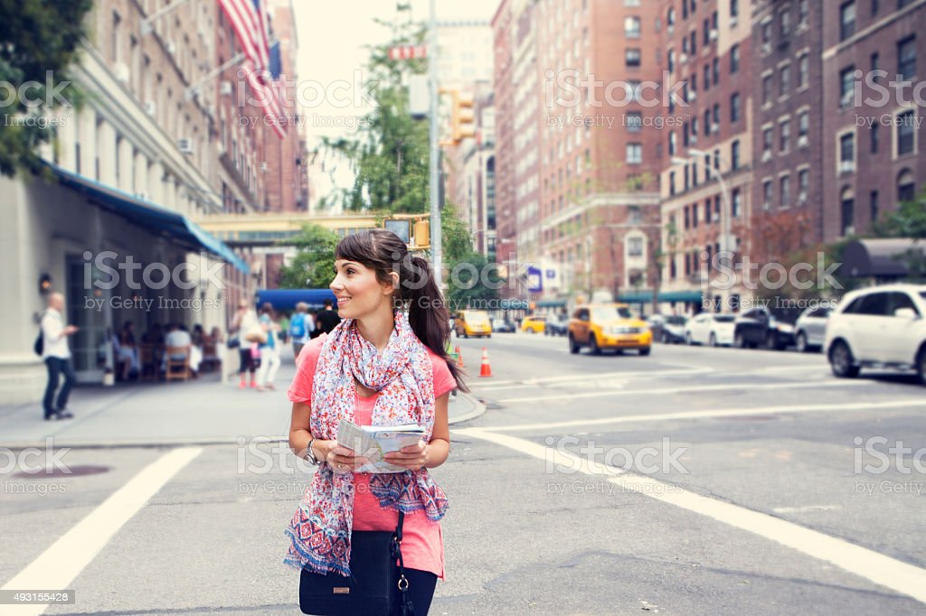 Women enjoys in streets of New York stock photo