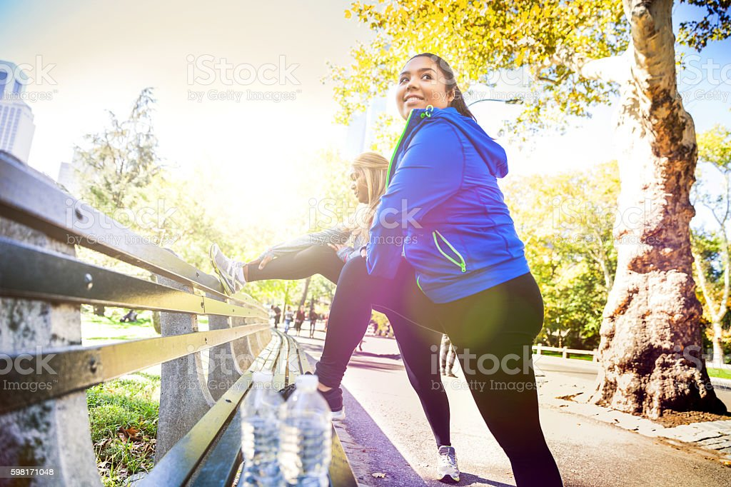 Women exercising in Central Park New York stock photo