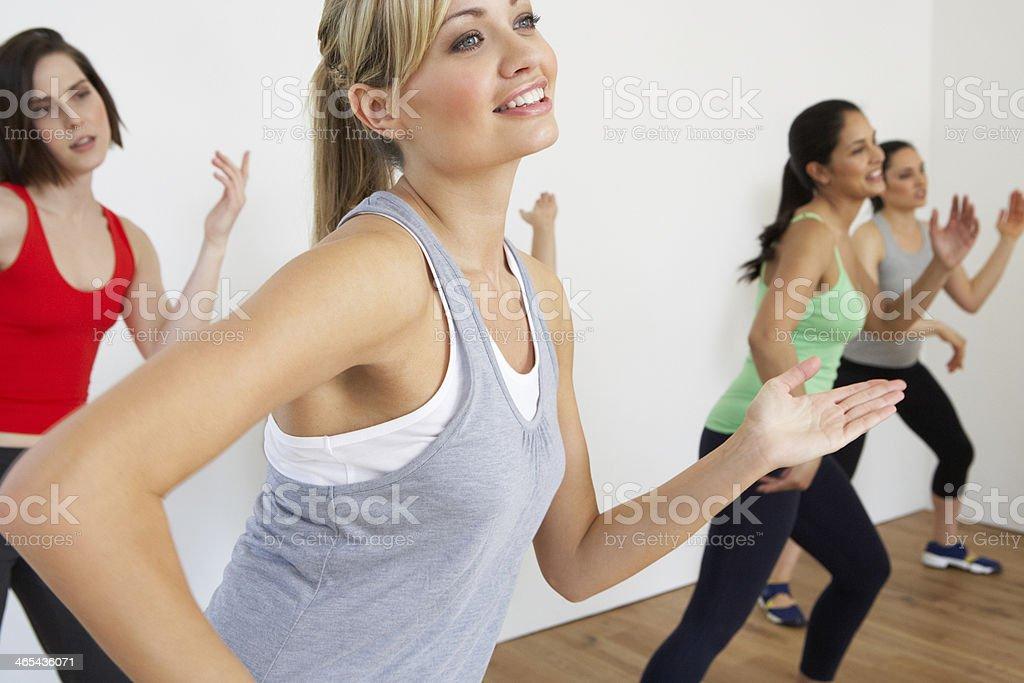 Women Exercising In Dance Studio stock photo