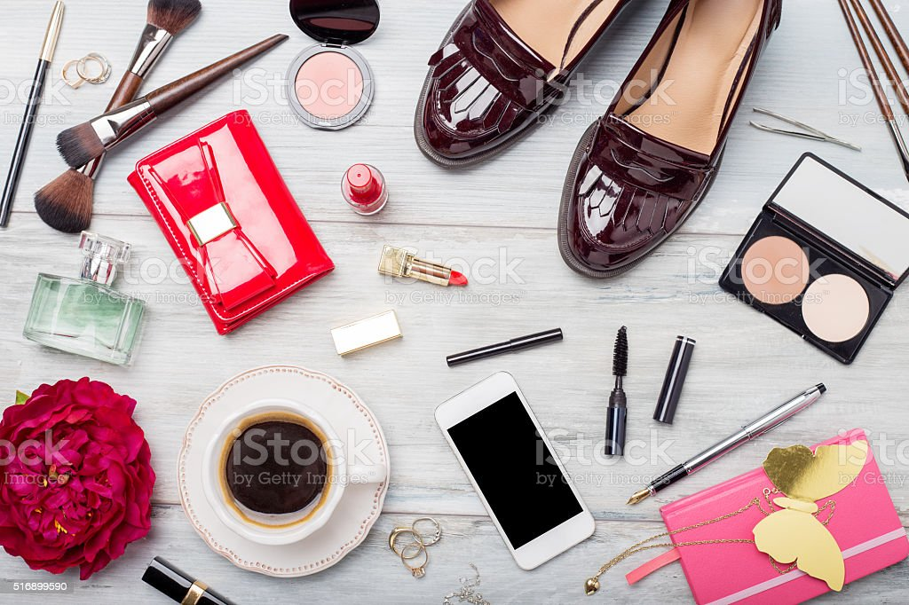 Women fashion and beauty objects and accessories stock photo