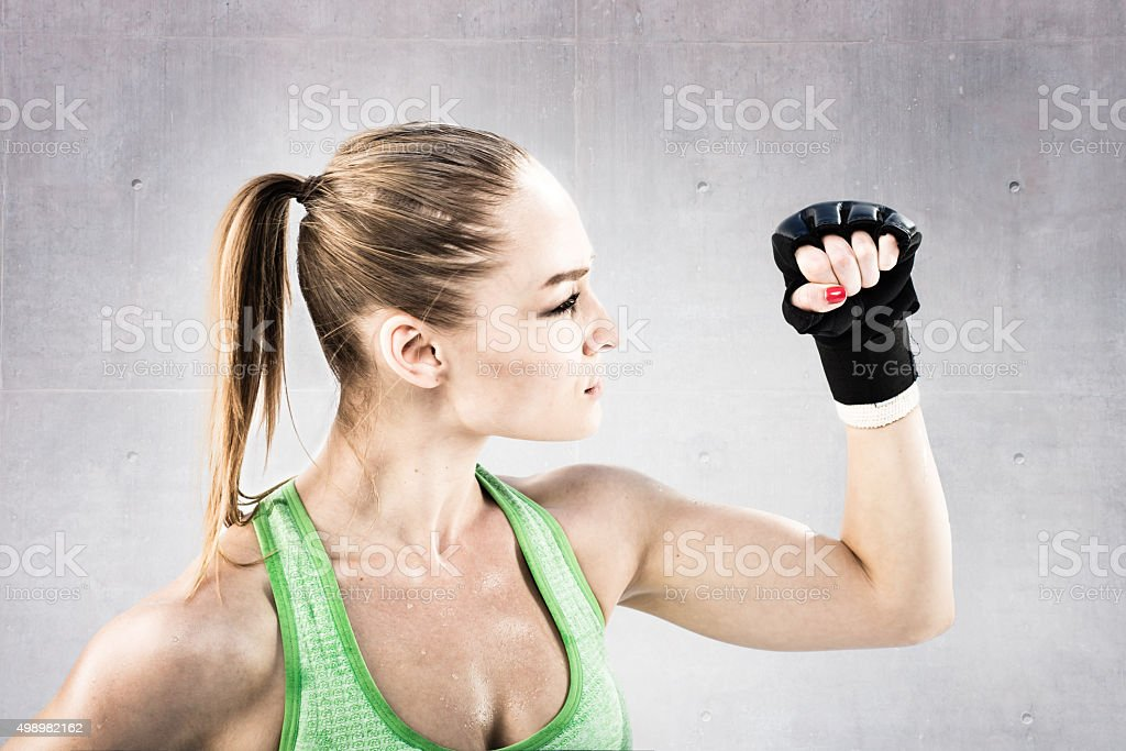 Women Fighter in a Stand Off stock photo