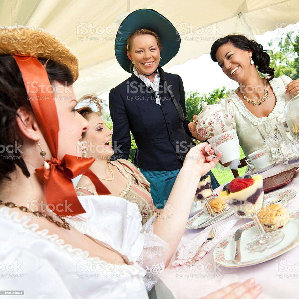 Women Friends at Victorian Tea Party Together royalty-free stock photo