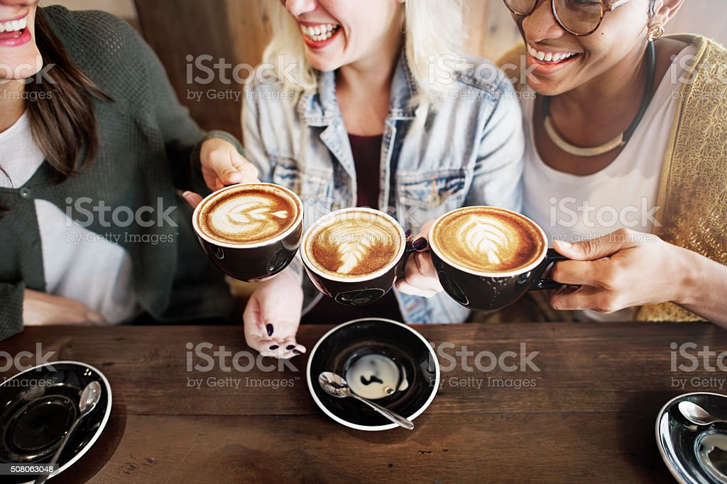 Women Friends Enjoyment Coffee Times Concept stock photo