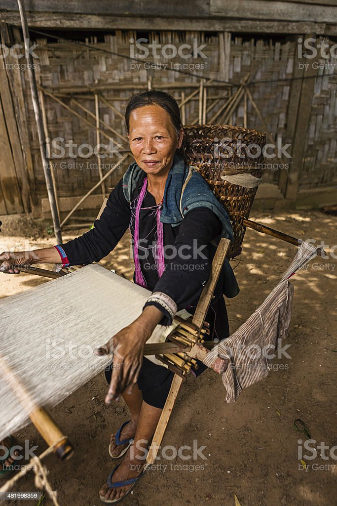 Women from the Lantan hill tribe working with loom royalty-free stock photo