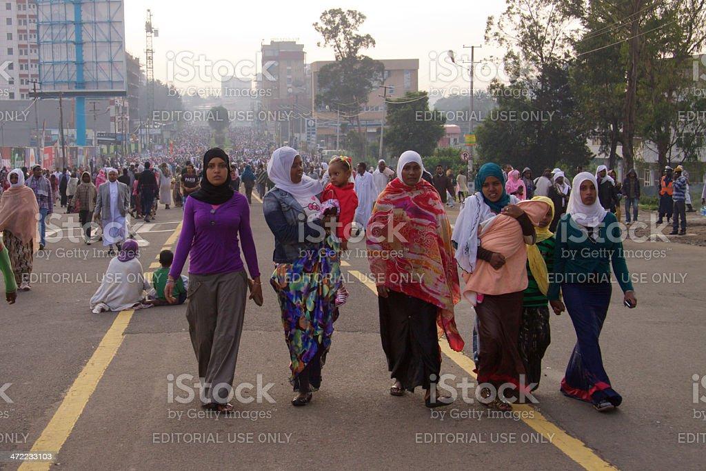 Women going for Eild Ul-Fitr mass praying stock photo