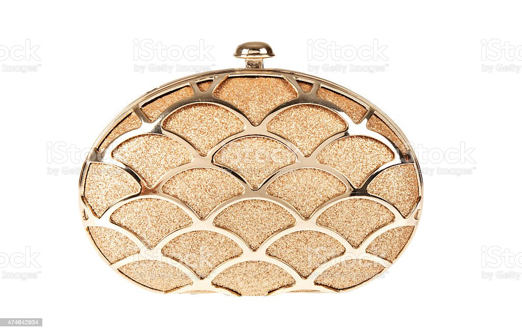 women  golden handbag stock photo