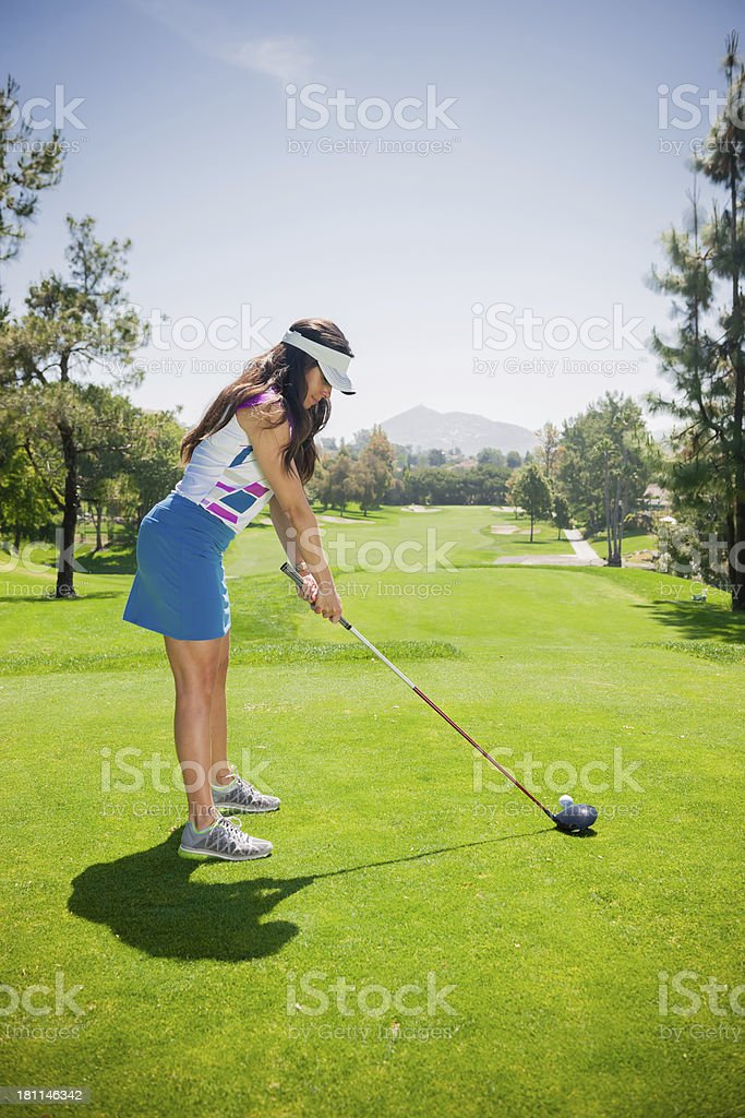 Women Golfer at Tee royalty-free stock photo
