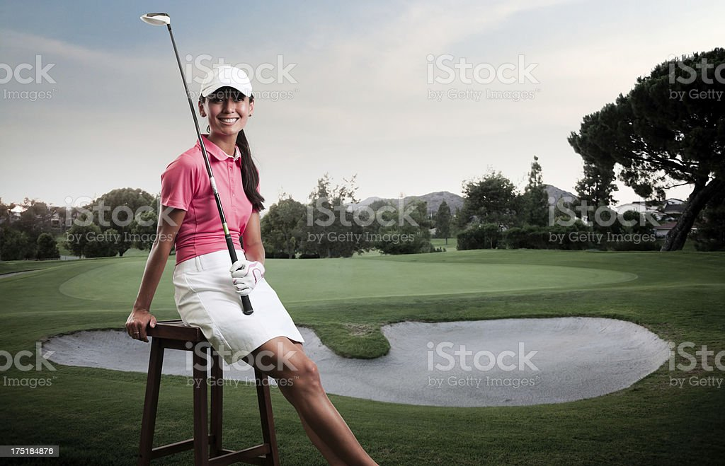 Women Golfer Texting stock photo
