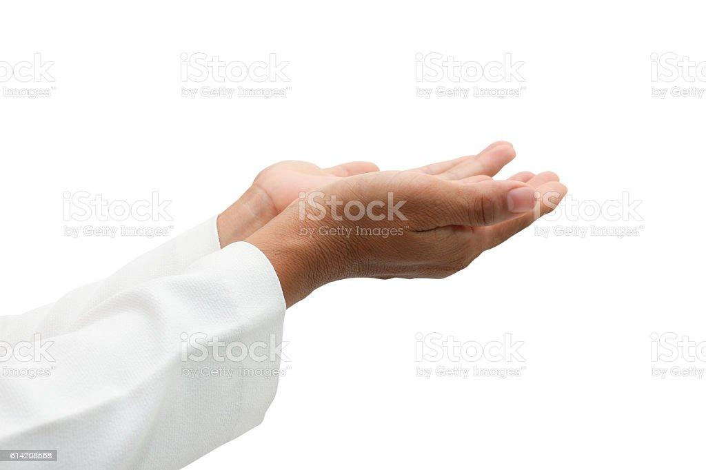Women hand praying stock photo