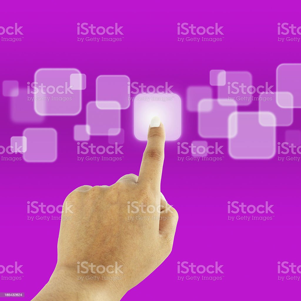 women hand pushing button on a touch screen interface royalty-free stock photo