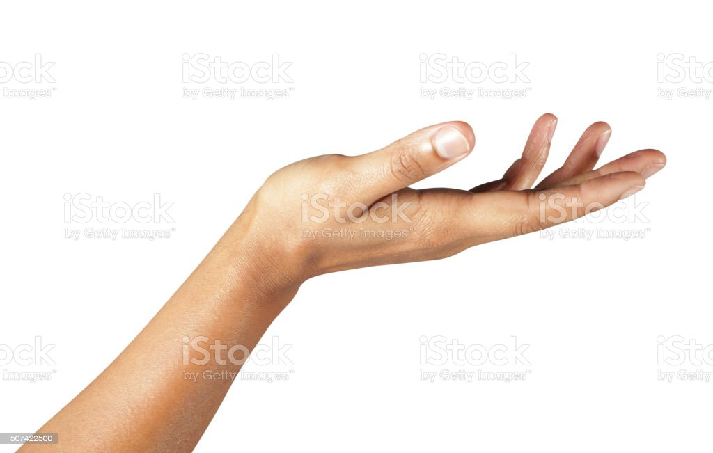 Women hand sign isolated on white background stock photo
