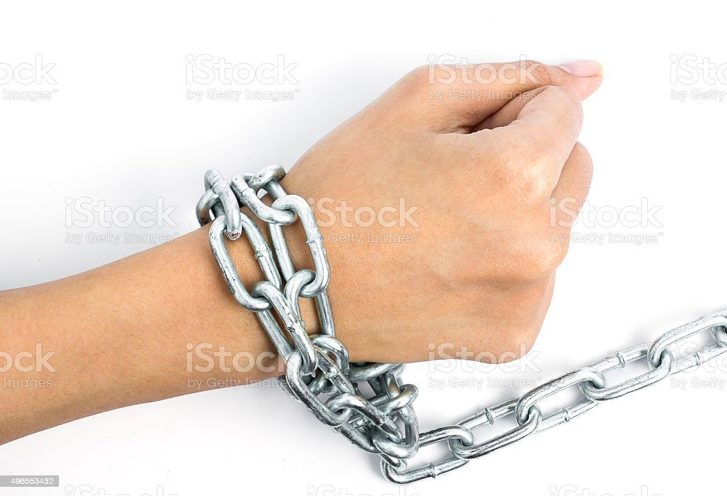 Women hands chained isolated on white background stock photo