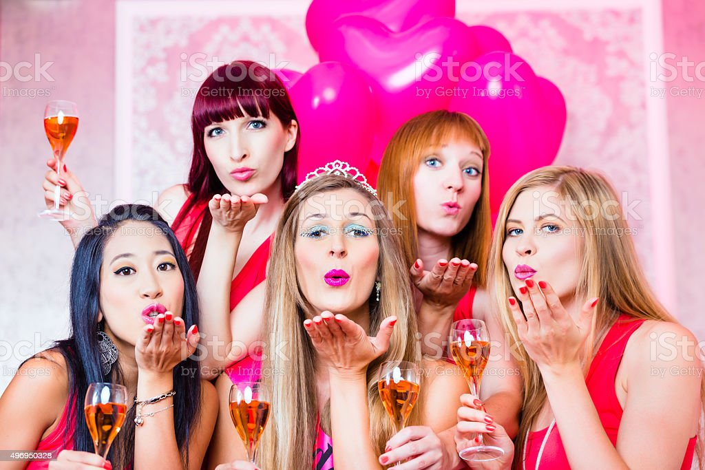 Women having bachelorette party in night club stock photo
