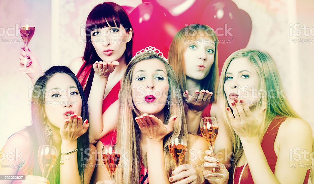 Women having bachelorette party in night club royalty-free stock photo