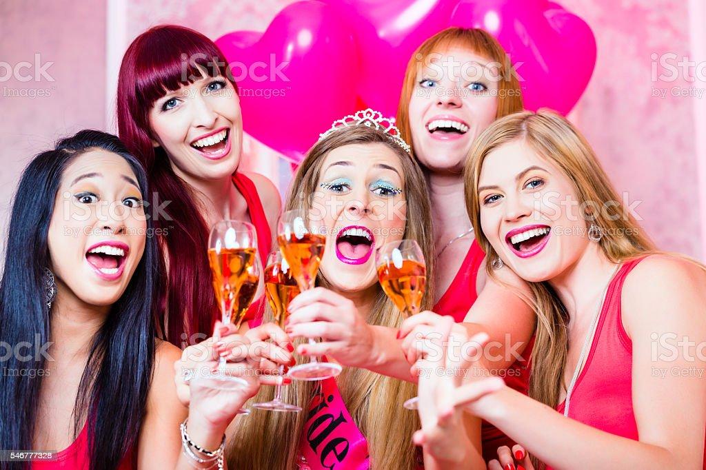 Women having bachelorette party in night club stock photo