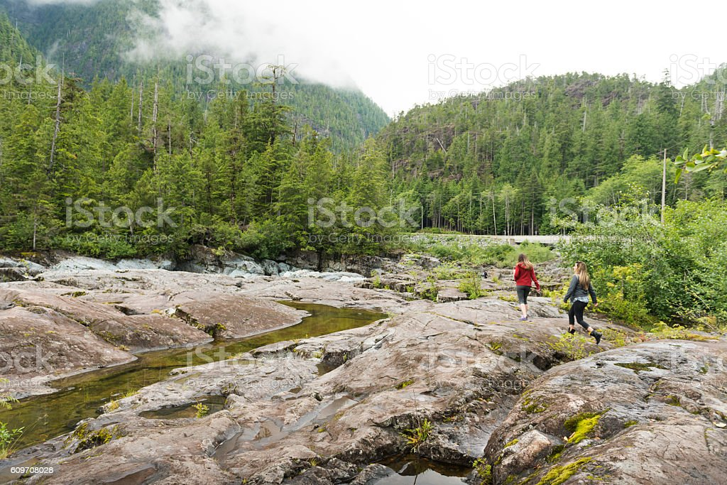 Women Hiking Beautiful Landscape Vancouver Island Canada stock photo