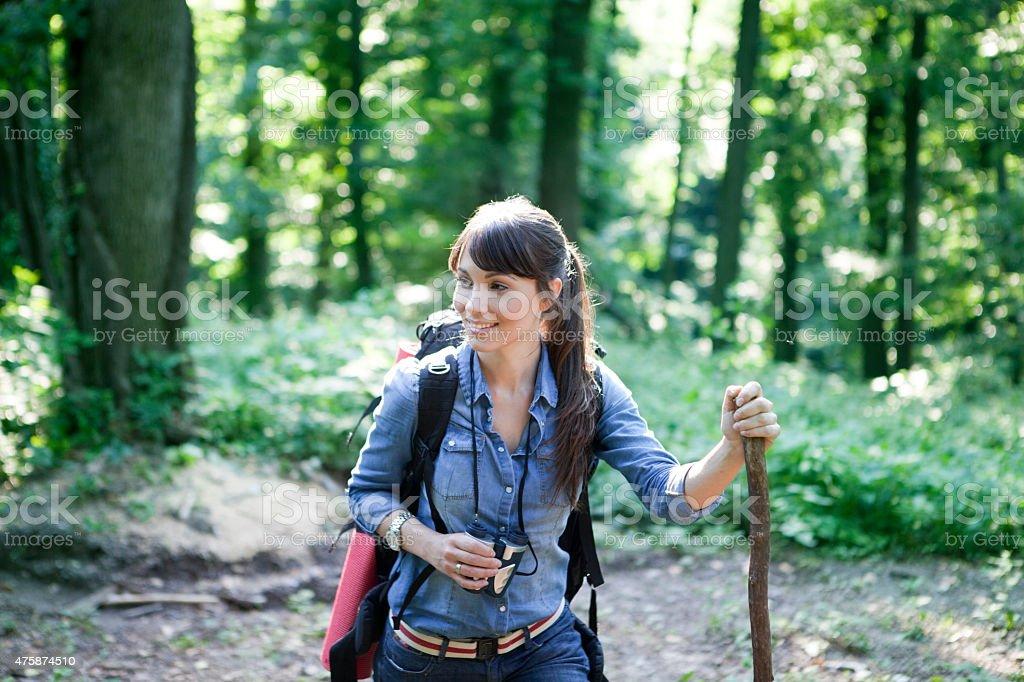 Women hiking stock photo