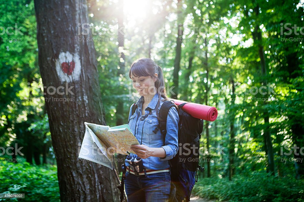 Women hiking stock photo