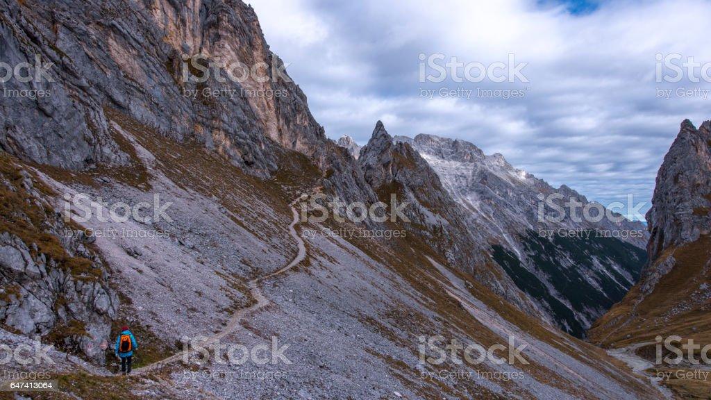 Women hiking to the Zugspitze Gatterl (Border) stock photo