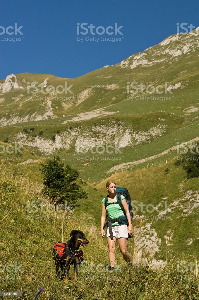 Women hiking with her French shepherd in the Mountains royalty-free stock photo