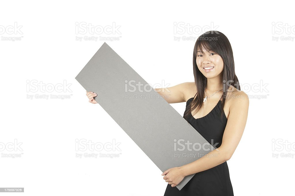 women holding a sign #9 royalty-free stock photo