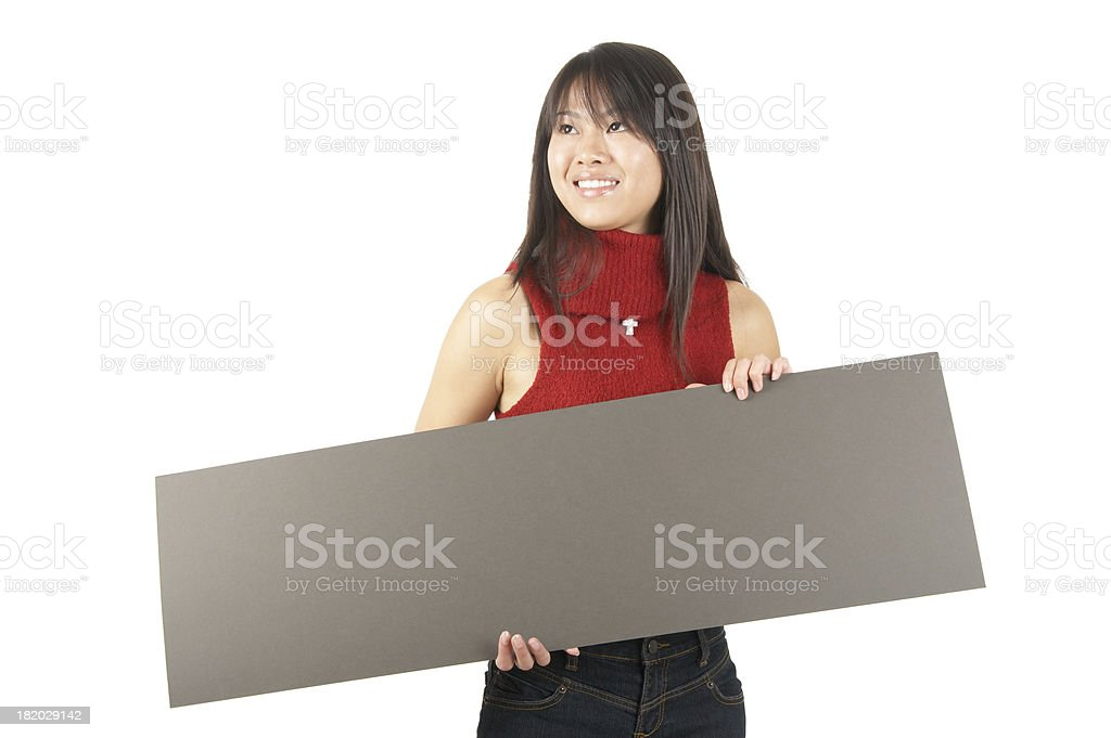 women holding a sign #12 royalty-free stock photo